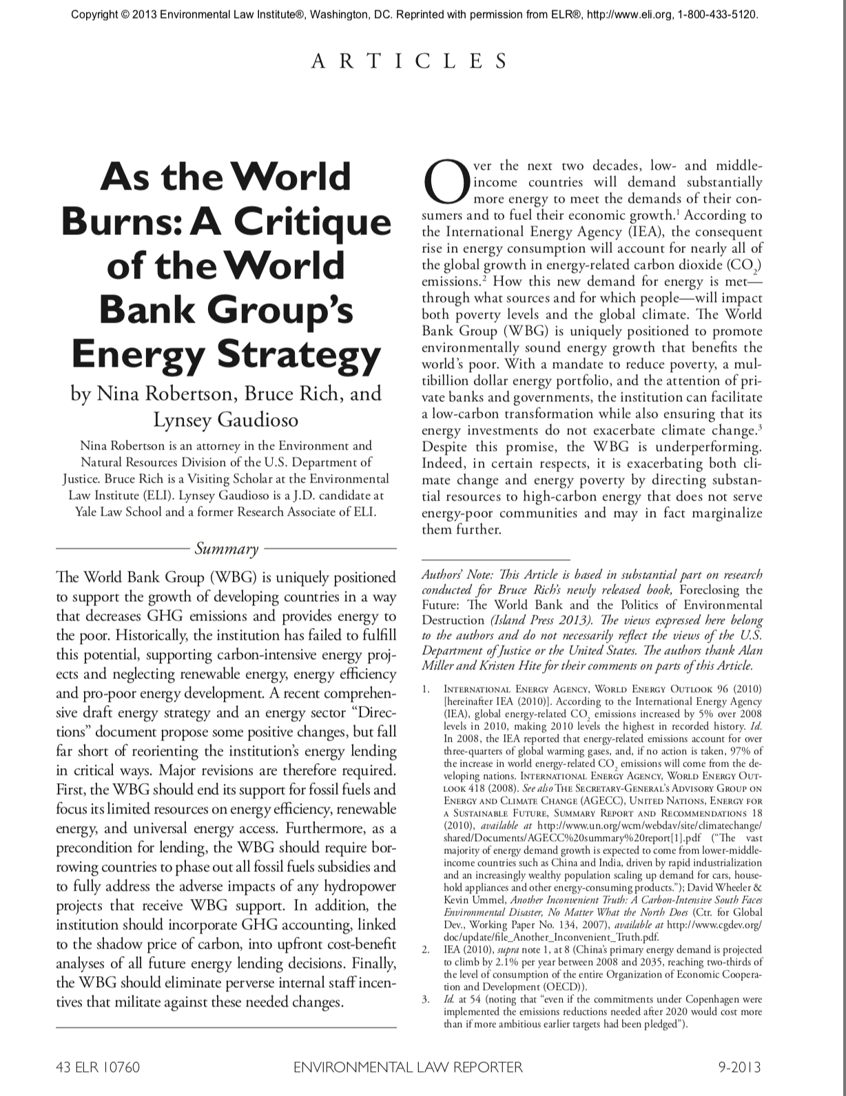 As the World Burns: A Critique of the World Bank Group's Energy Strategy