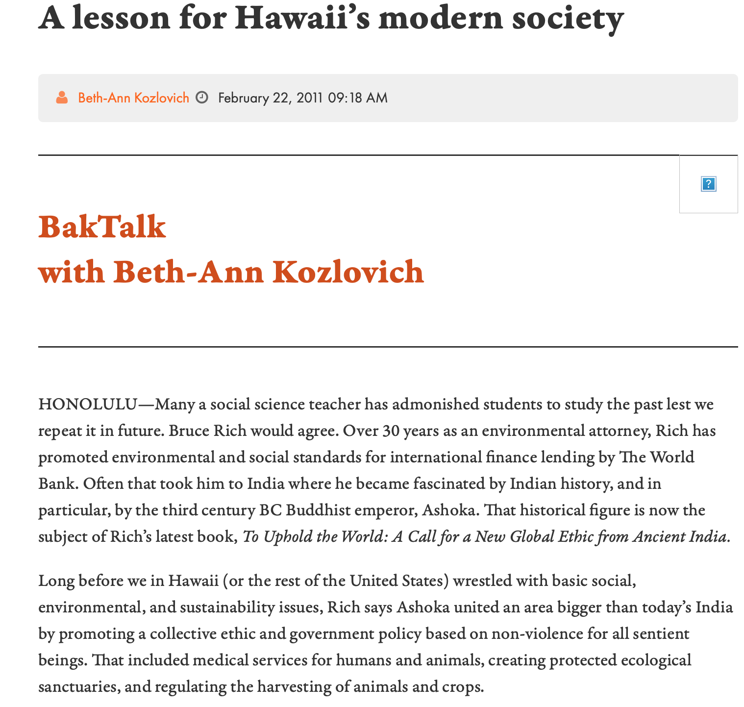 Interview: A Lesson for Hawaii's Modern Society