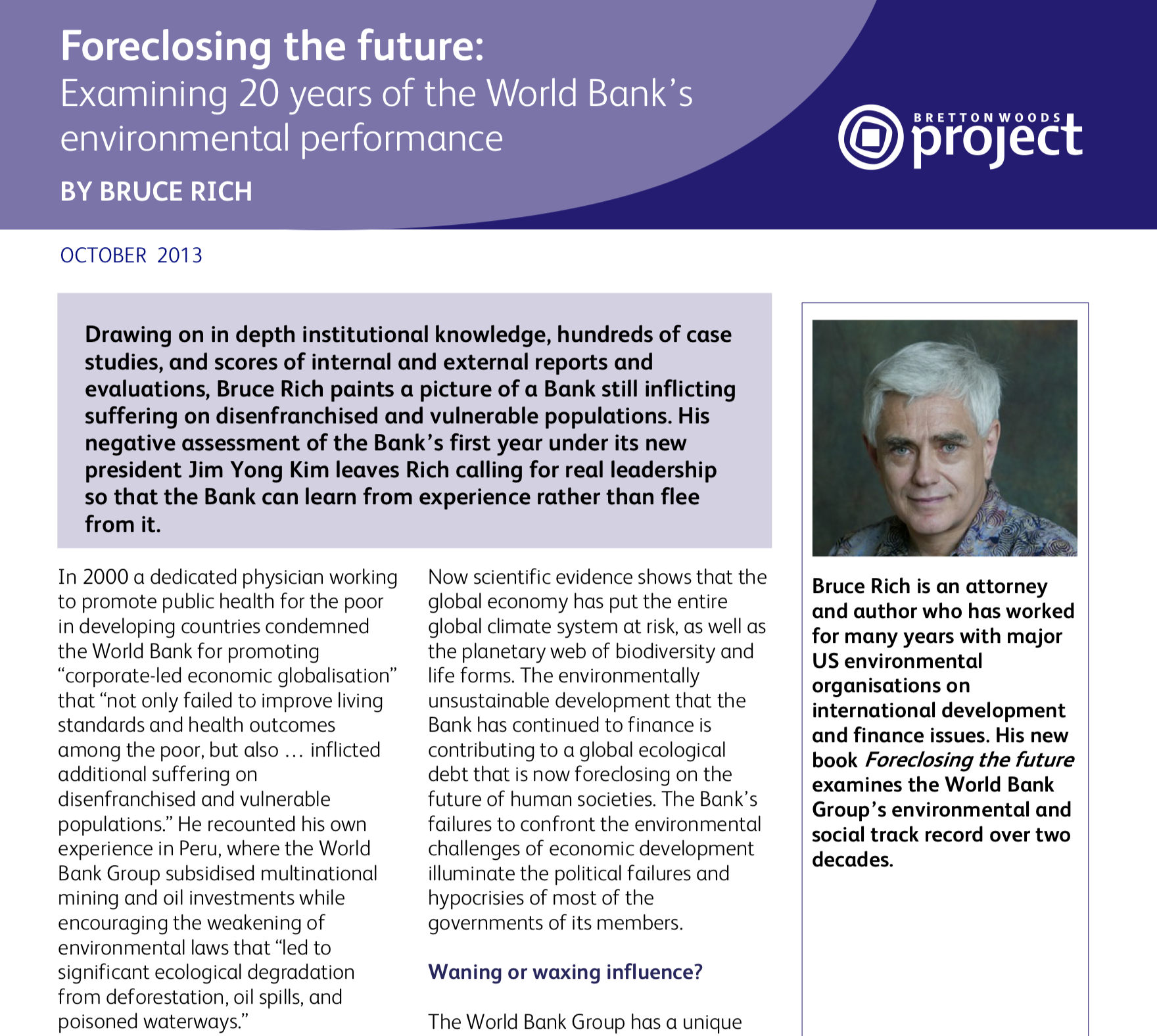 Foreclosing the Future: Examining 20 years of the World Bank's Environmental Performance