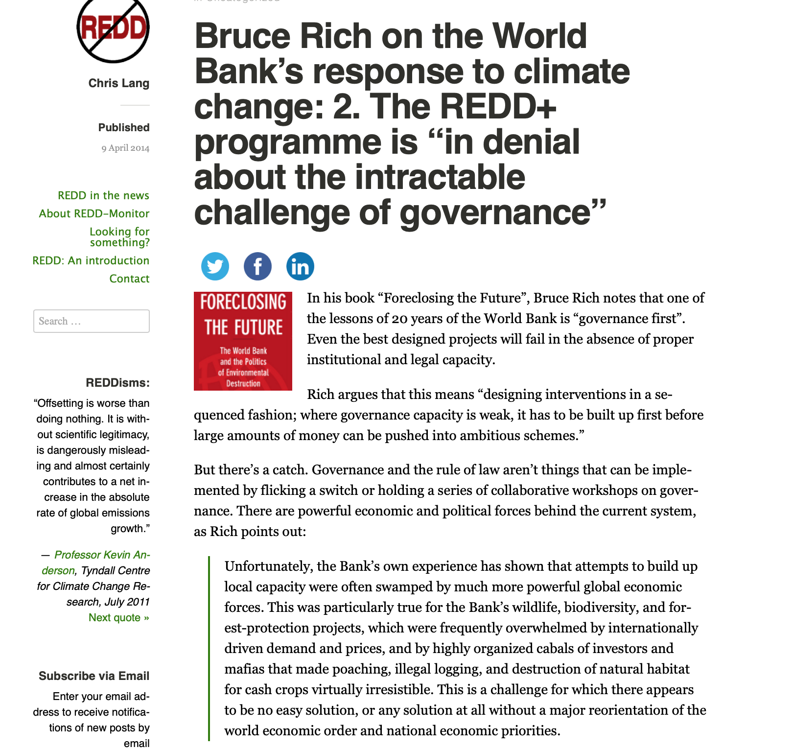 The REDD+ Program is in Denial About the Intractable Problem of Governance