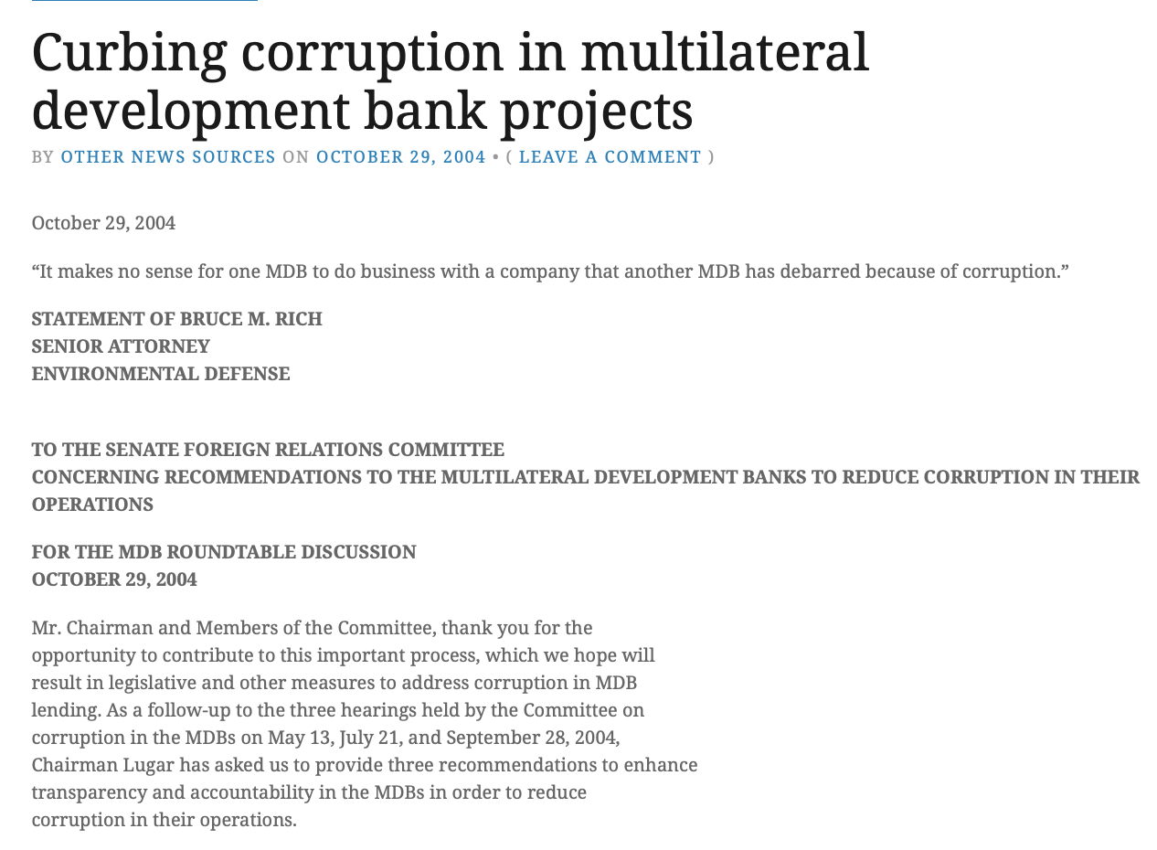 Submission to the Senate Foreign Relations Committee Roundtable on Recommendations to the Multilateral Development Banks to Reduce Corruption in Their Operations